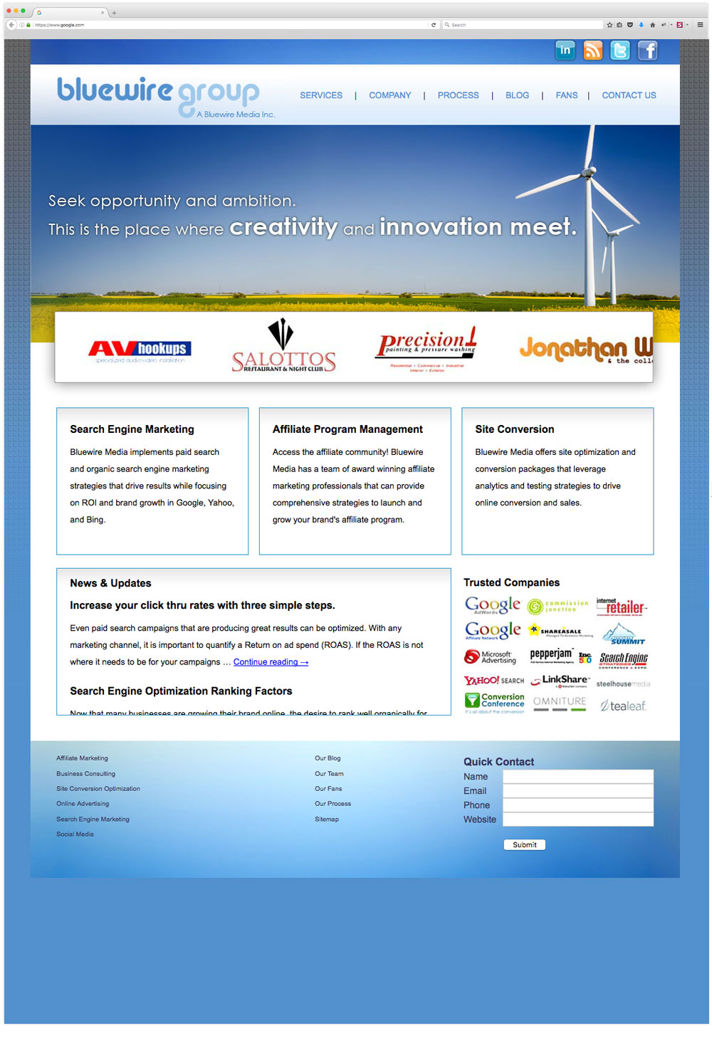 Bluewire Group website design