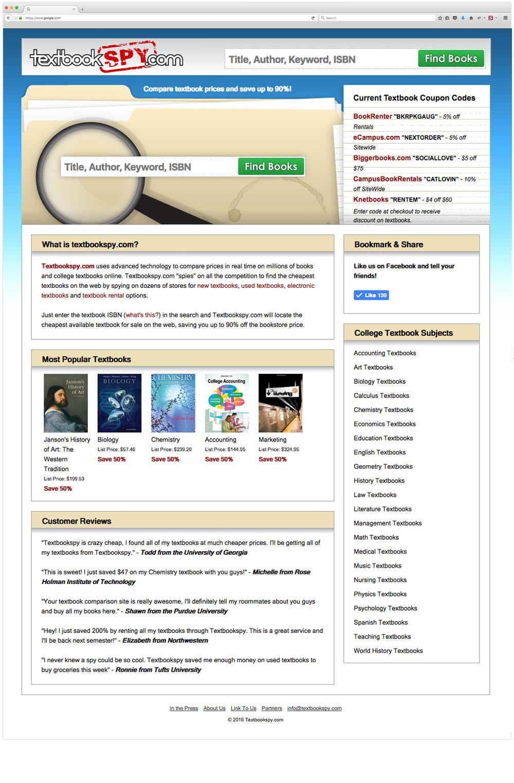Textbook Spy website design
