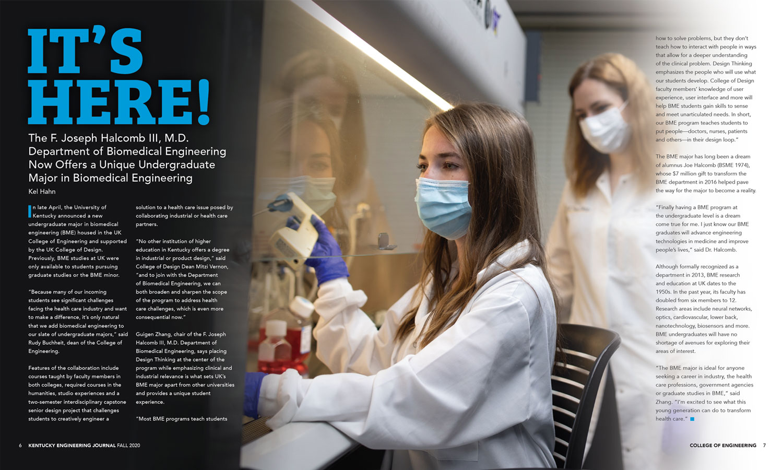 KEJ Fall 2020 Biomedical Engineering Degree Spread
