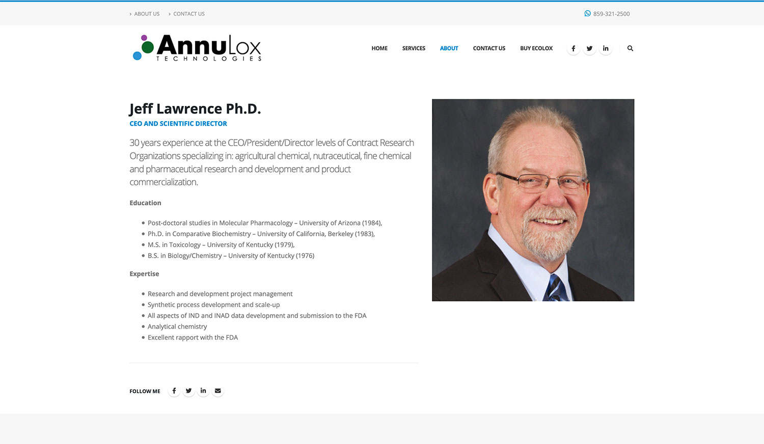 AnnuLox Technologies Personnel Page - Website Design