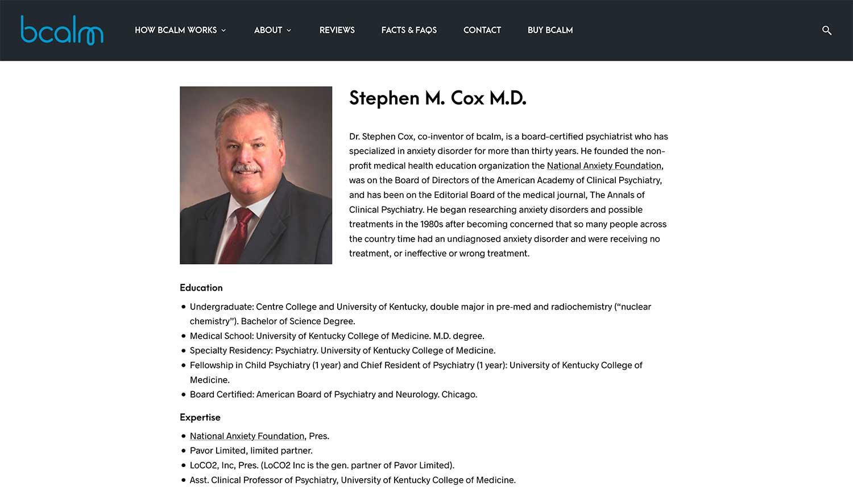 Bcalm.us Personnel Page - Website Design