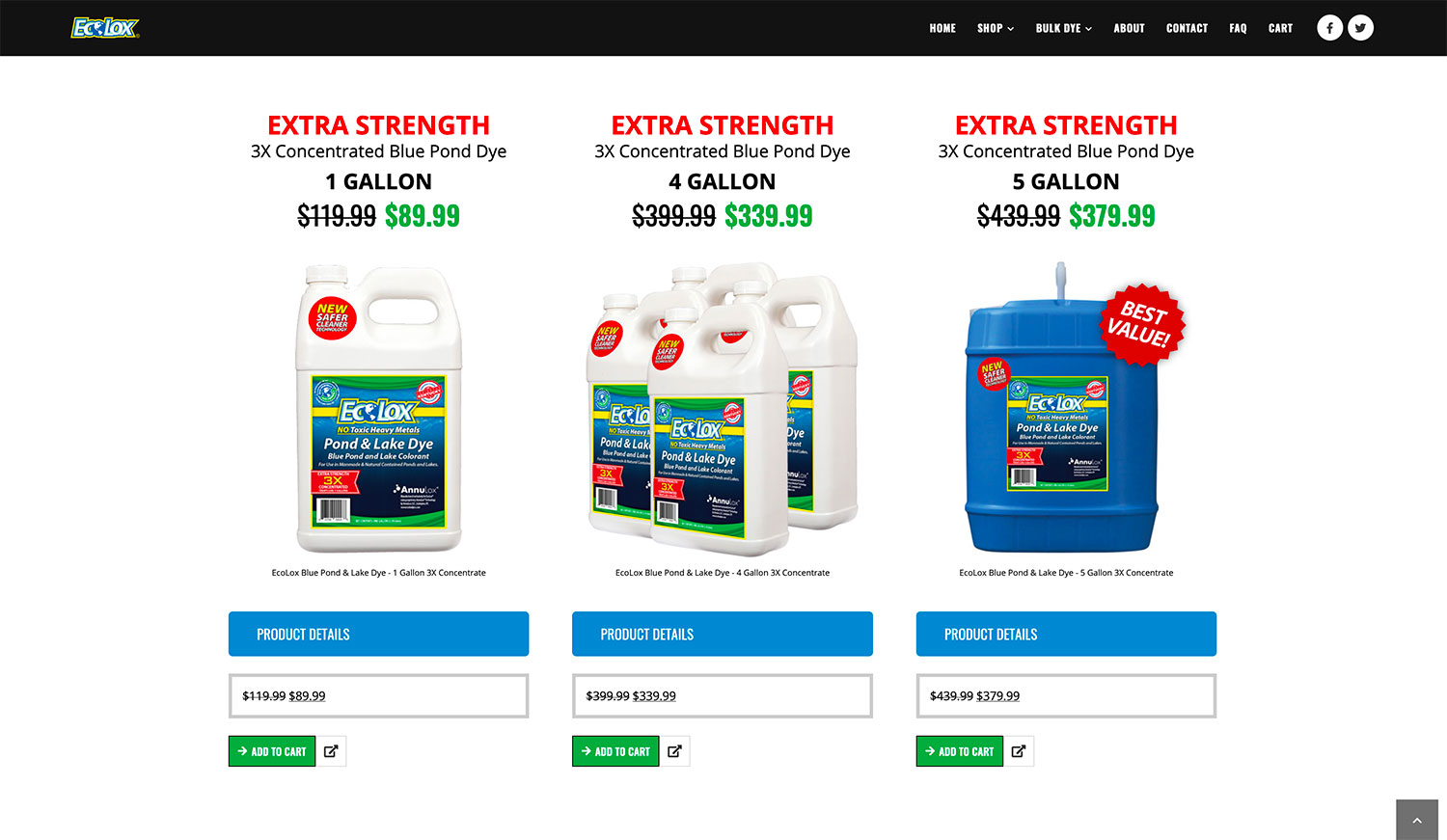 EcoLox Dyes eCommerce Products - Website Design